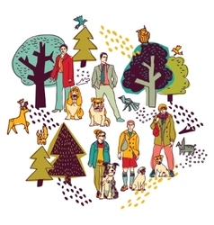People and pets walking in park color on white vector
