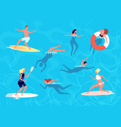 people swimming summer swim woman man in vector image