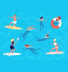 people swimming summer swim woman man vector image