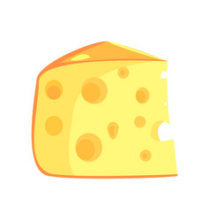 Piece of swiss cheese food item rich in proteins vector