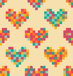 pixel heart pattern vector image