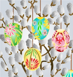 Pussy willow and easter eggs vector