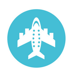 round icon airplane cartoon vector image