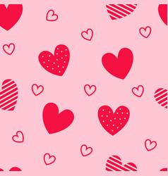 Seamless pattern red hearts pink background vector