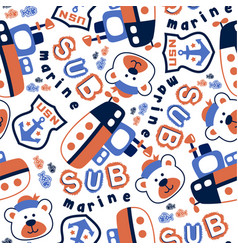 seamless pattern with submarine cartoon and funny vector image
