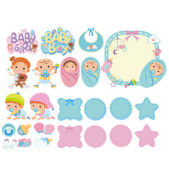 set isolated objects theme baby vector image