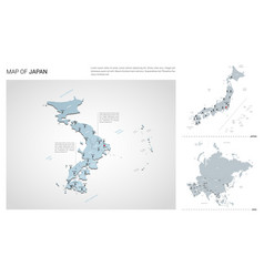 Set japan country isometric 3d map japan map vector