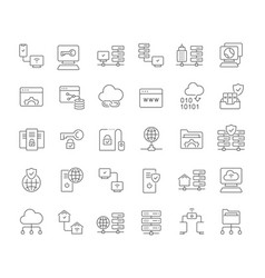 set line icons internet technology vector image