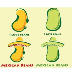 Set of beans and mexican beans vector