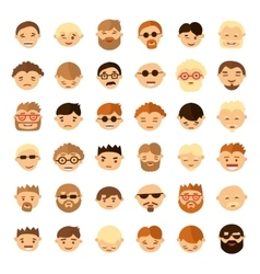 Set of people face icons in flat style vector image