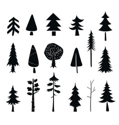 Set tree icons black silhouet isolated on a vector
