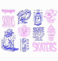 skateboard shop badges set dinosaur and skeletons vector image