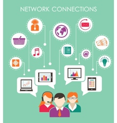 Social network connection concept vector