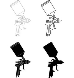 Spray gun solid and outlined vector