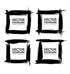 Square frames from abstract black textured strokes vector