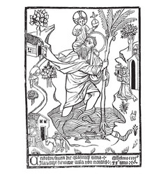 St christopher crossing the river carrying jesus vector