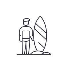 surfer line icon concept surfer linear vector image