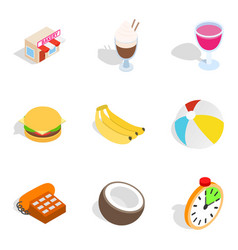 Sweet bakery icons set isometric style vector