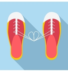Tied laces on shoes icon flat style vector
