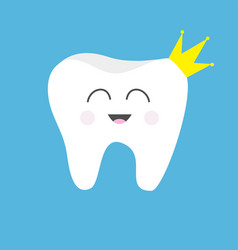 Tooth health icon wearing crown cute funny vector