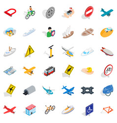 transport icons set isometric style vector image