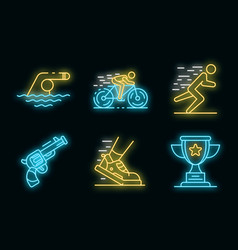 Triathlon icons set neon vector
