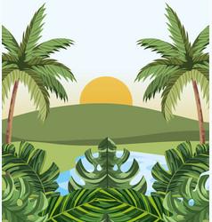 tropical jungle cartoon vector image
