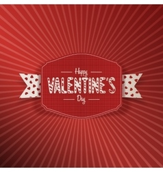 Valentines Day Banner with Text and white Ribbon vector