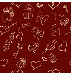 Valentines day ornate background hand-drawn vector