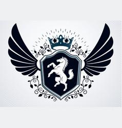 vintage heraldry design template emblem created vector image
