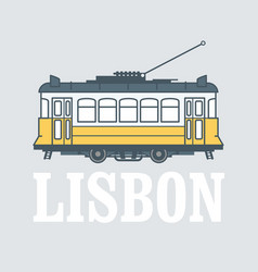 Vintage tram - symbol lisbon portugal tramway vector