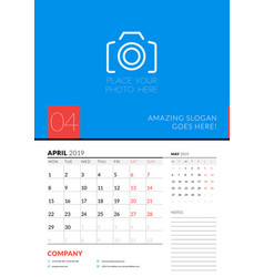 wall calendar planner template for april 2019 vector image