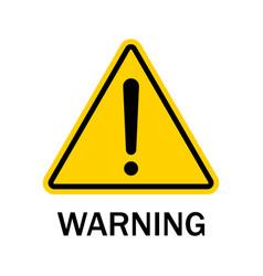 warning sign isolated on white background black vector image