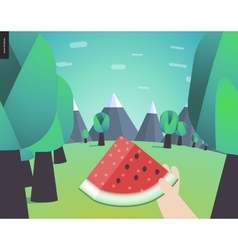 Watermelone picnic in a forest vector image