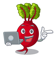 With laptop cartoon fresh harvested beetroots in vector