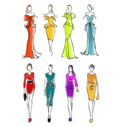 Women presenting dresses for work and leisure vector image