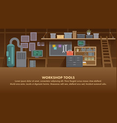 workshop tools flat banner diy wall home interior vector image