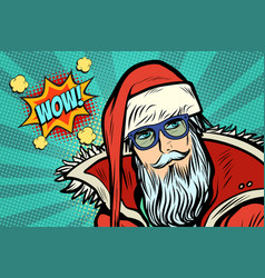Wow hipster santa claus vector