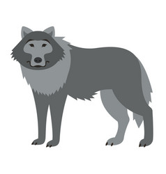 cute smiling wild wolf cartoon vector image
