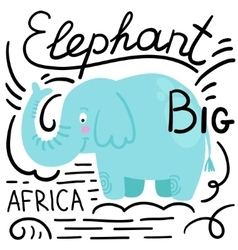 Elephant blue white background isolated vector image vector image