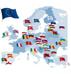 European country flags and map vector