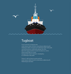 Front view of push boat and text vector