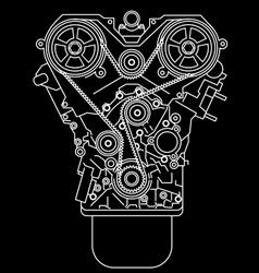 Racing engine front view vector