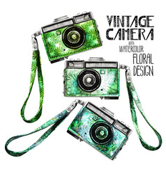 watercolor vintage retro camera vector image