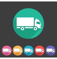 Cargo truck flat icon web sign symbol logo label vector image vector image