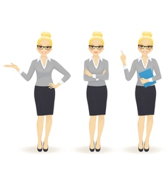 Elegant business woman in different poses vector image vector image