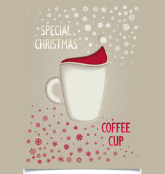 Fun vintage Christmas coffee cup vector image vector image
