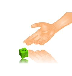 hand and dice vector image vector image