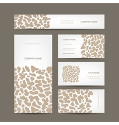 Set of business cards design animal print vector image vector image