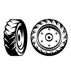 set of monochromatic tractor wheels vector image